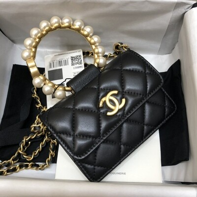 CLUTCH WITH CHAIN, Black, Leather, Imitation Pearls & Gold-Tone Metal