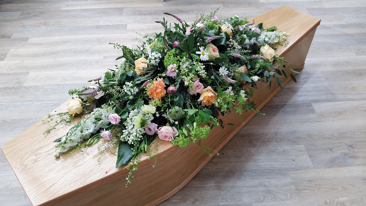 Pink & Peach Country Coffin Spray