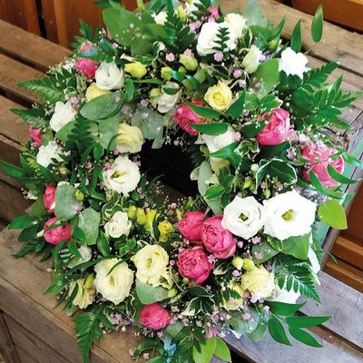 Pink And White Wreath