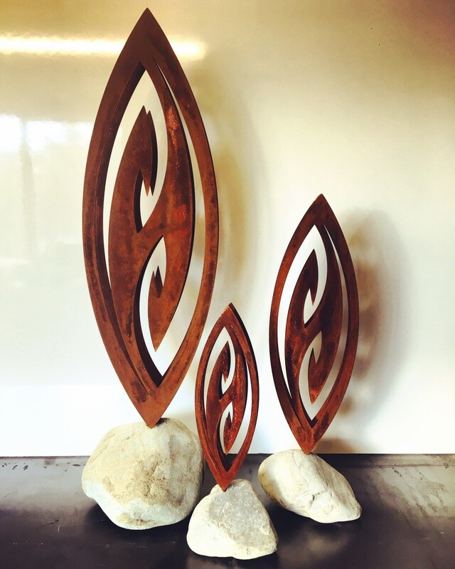 3D Corten Fish Hook Sculptures