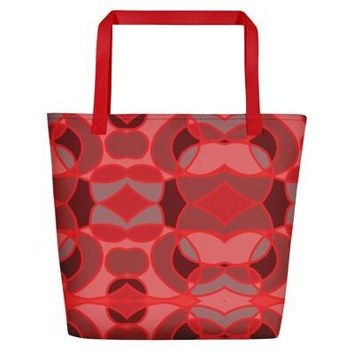 Red Abstract Circles - Beach Bag