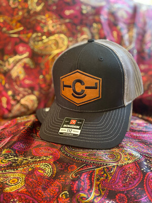 Black and Grey Cap w/ Leather Patch