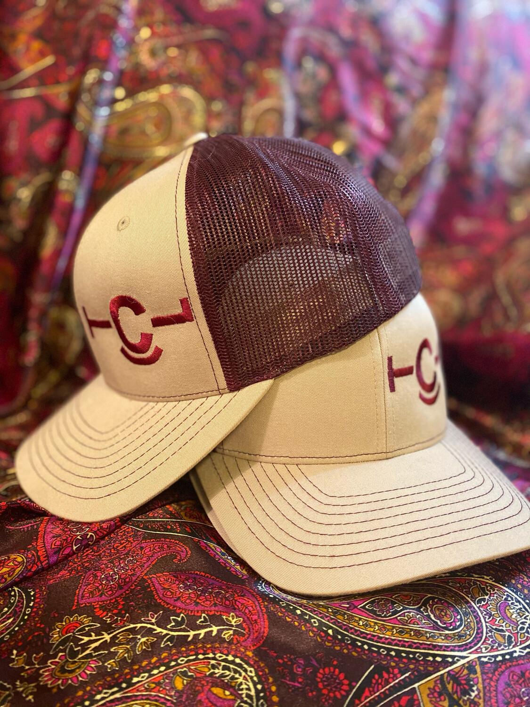 Tan & Burgundy Hat