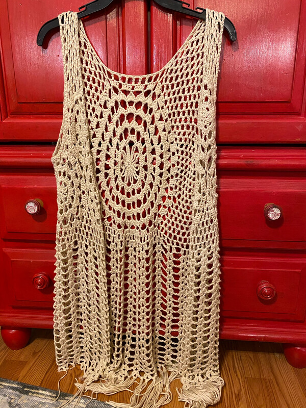 Ladies Small/Medium Crochet Fringed Vest Used