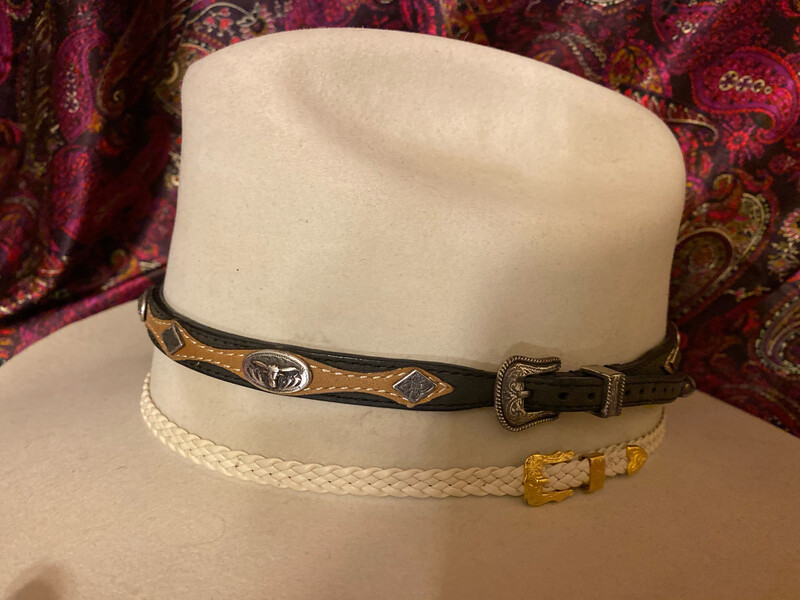 Black And Brown Hatband With Longhorns