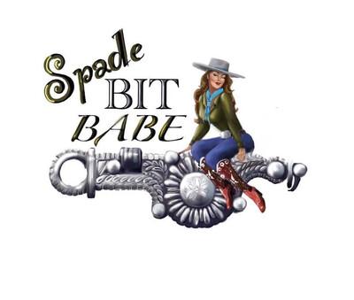 Large Spade Bit Babe Black V-neck Shortsleeve Tee