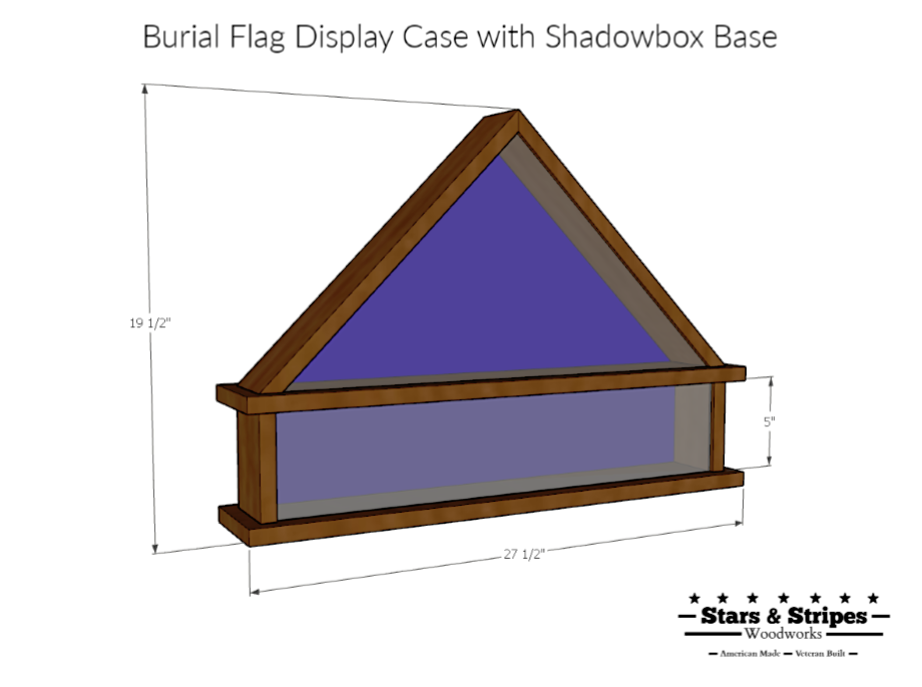 Maple Burial Flag Display Case with Shadow Box Base