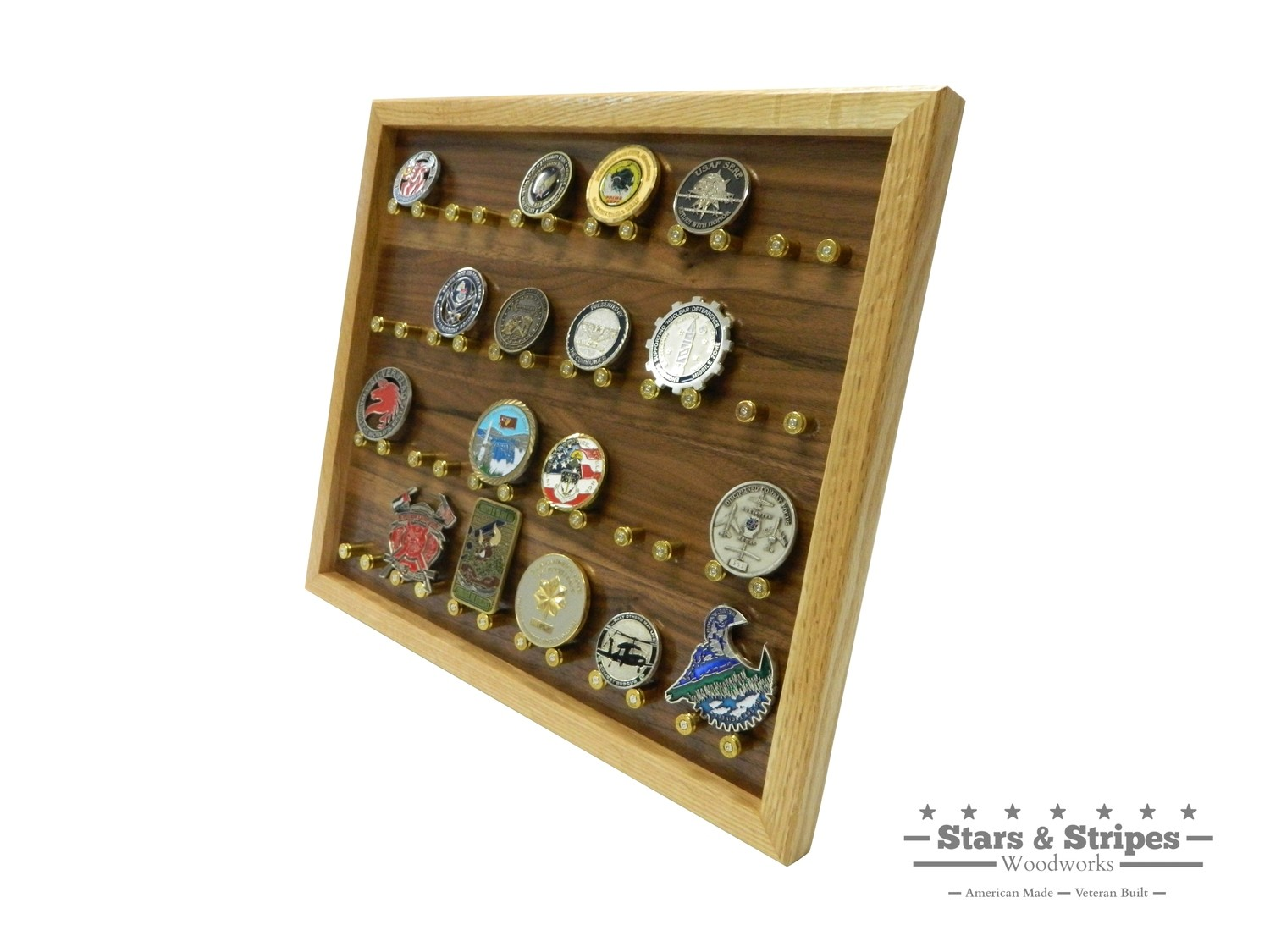 The ORIGINAL 24 Challenge Coin Rack Display with 9mm Brass Bullet Casings