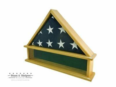 Oak Burial Flag Display Case with Shadow Box Base