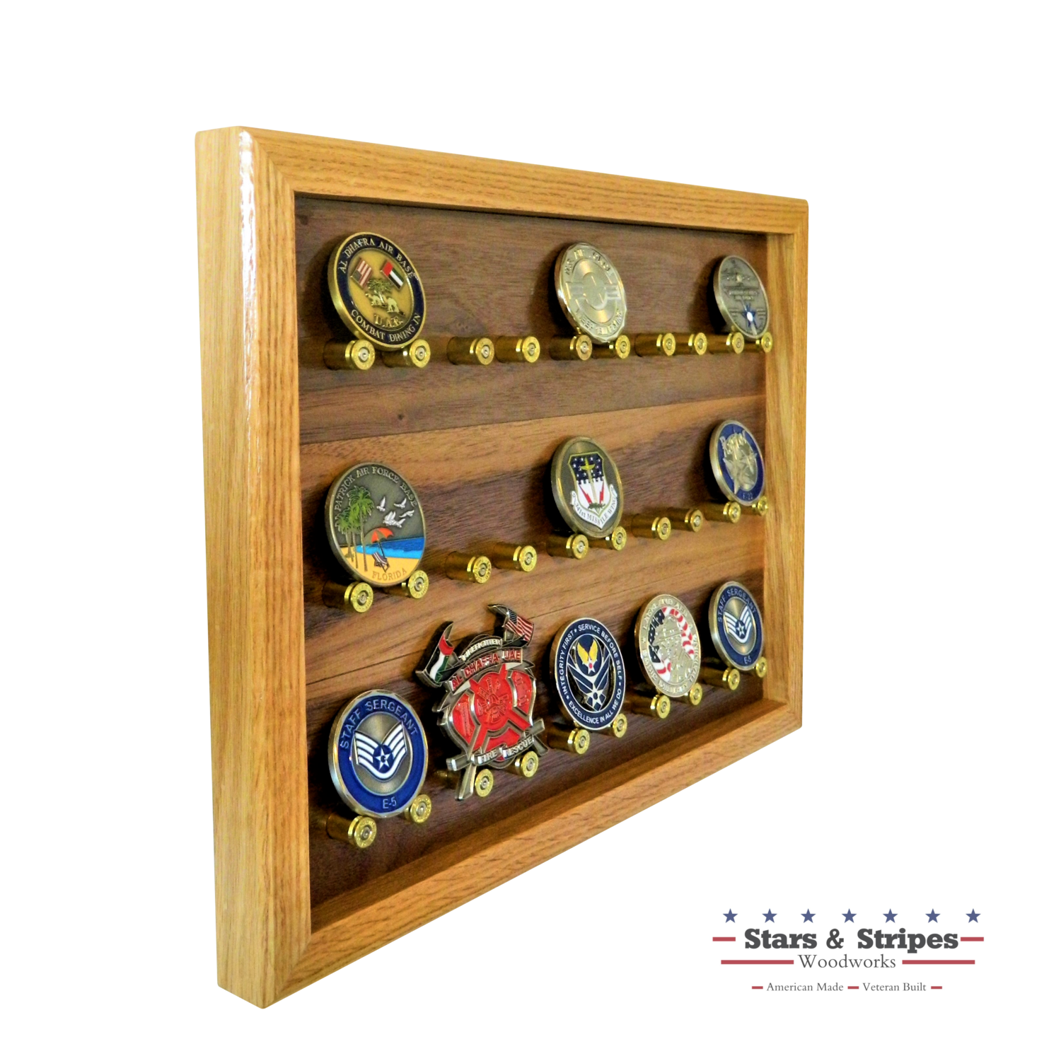 The ORIGINAL 15 Count Challenge Coin Rack Display with 9mm Brass Bullet Casings