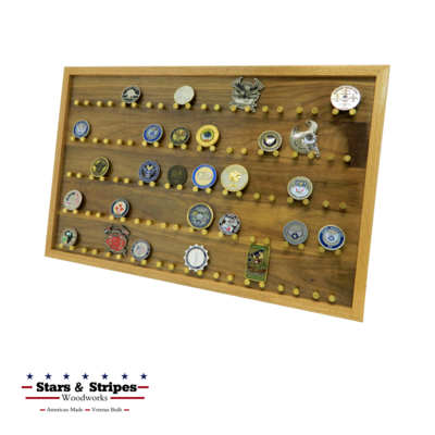 The ORIGINAL 50 Challenge Coin Rack Display with 9mm Brass Bullet Casings