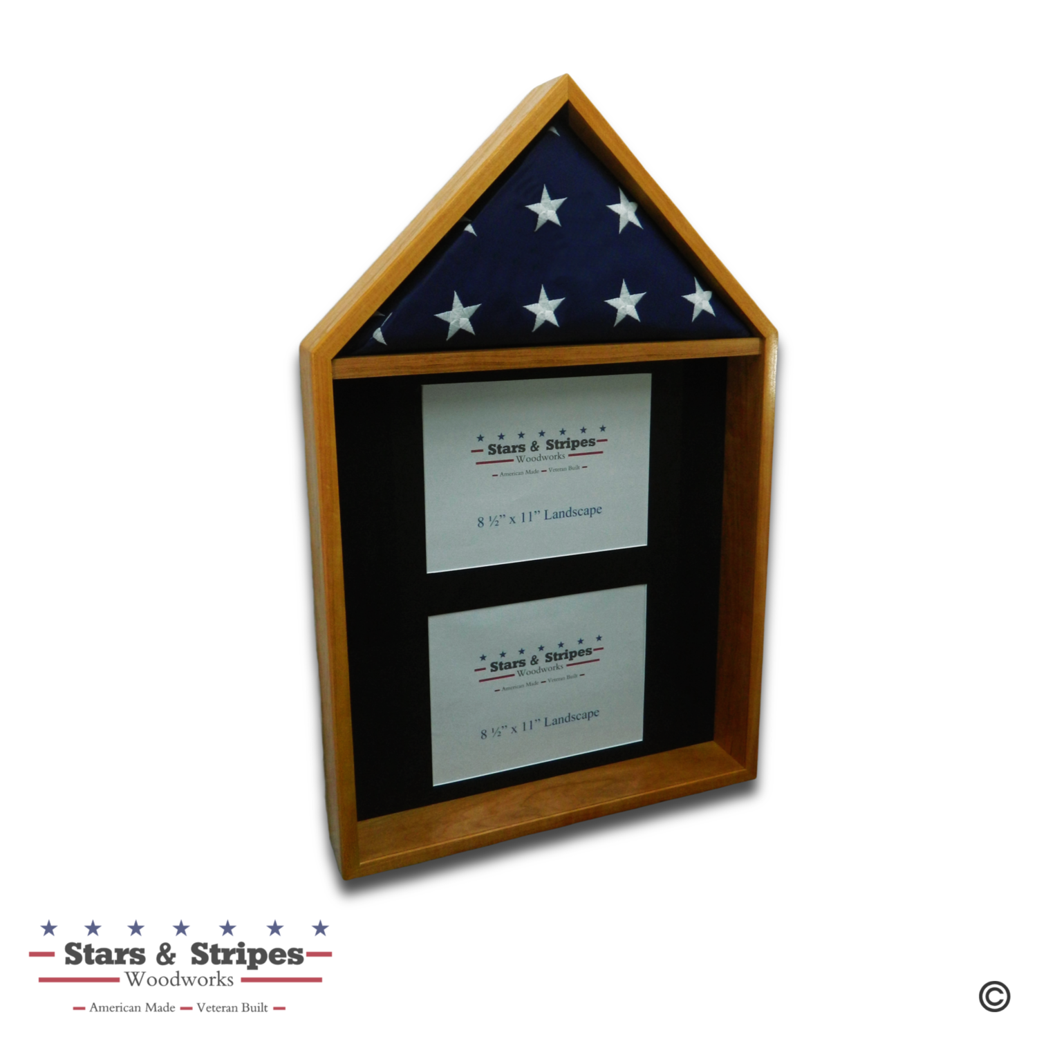 Cherry 4'x6' Flag & Two Certificate Display Case