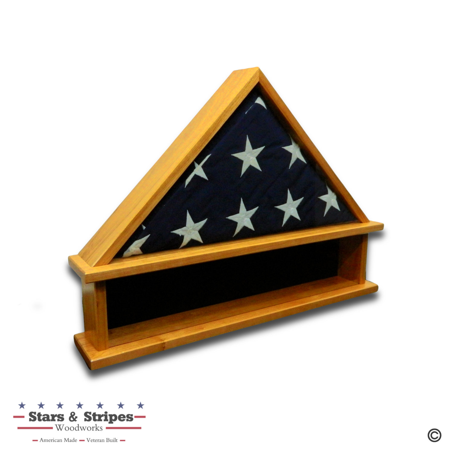Cherry Burial Flag Display Case with Shadow Box Base