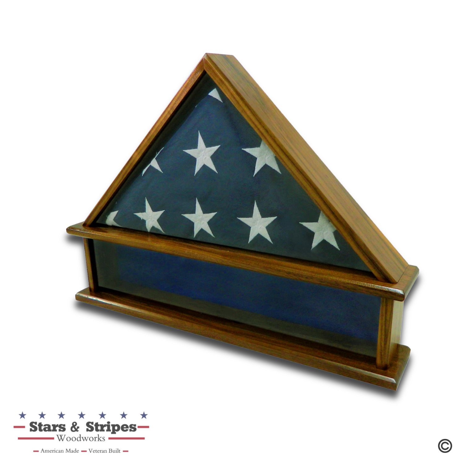 Walnut Burial Flag Display Case with Shadow Box Base