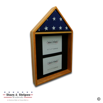 Cherry with Walnut Inlay 4'x6' Flag & Two Certificate Display Case