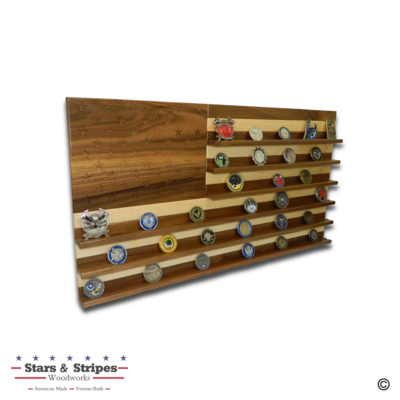 Walnut & Maple American Flag Challenge Coin Rack Display - Large (75-100 Coins)