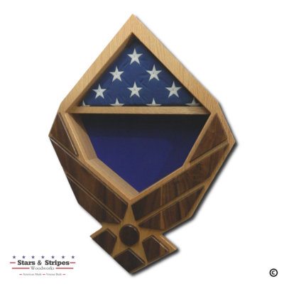 US Air Force Wings Retirement Shadow Box (Oak Case with Walnut Wings)