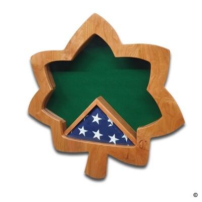 Officer Oak Leaf Rank Insignia Shadow Box - Cherry Hardwood