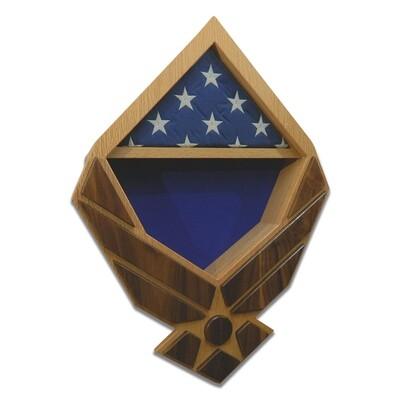 US Air Force Wings Retirement Shadow Box (Oak Case with Walnut Wings)