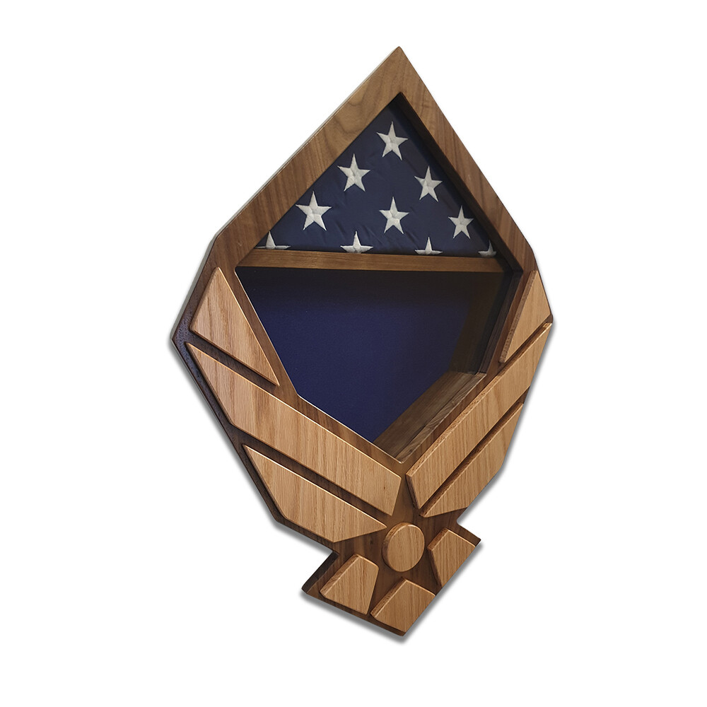 US Air Force Wings Retirement Shadow Box (Walnut Case with Oak Wings)