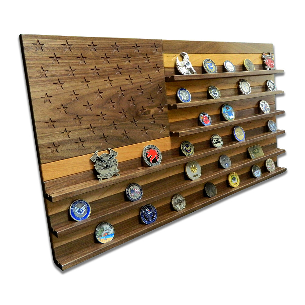 Walnut & Cherry American Flag Challenge Coin Rack Display - Large (75-100 Coins)