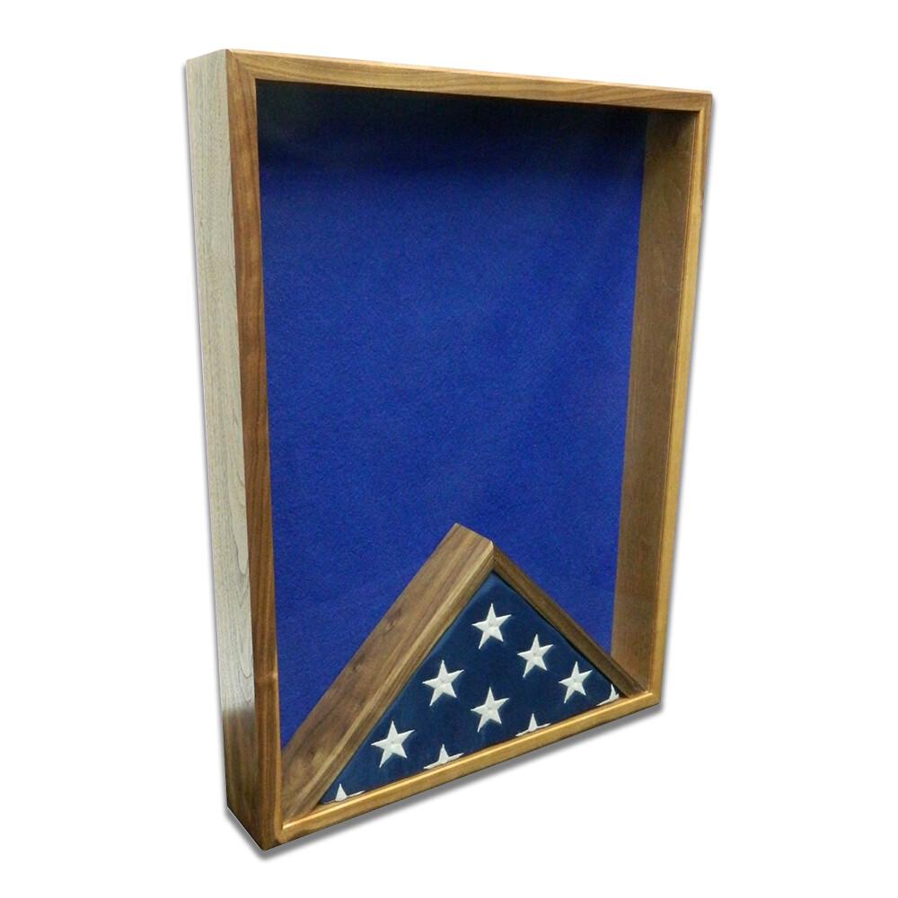 "Walnut 18"" x 24"" Vertical Flag Display Shadow Box"