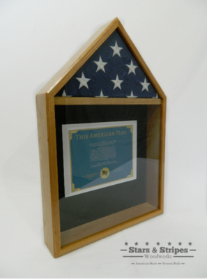 Oak Flag & Certificate Display Case