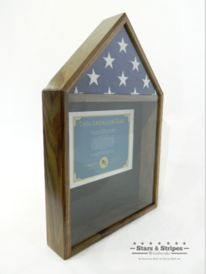 Walnut Flag & Certificate Display Case