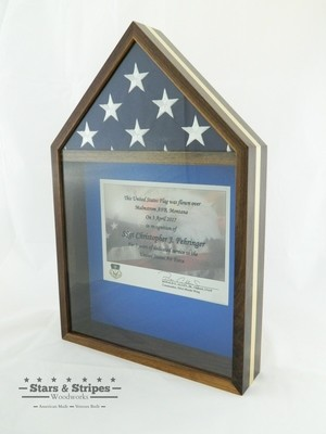 Walnut with Maple Inlay Flag & Certificate Display Case