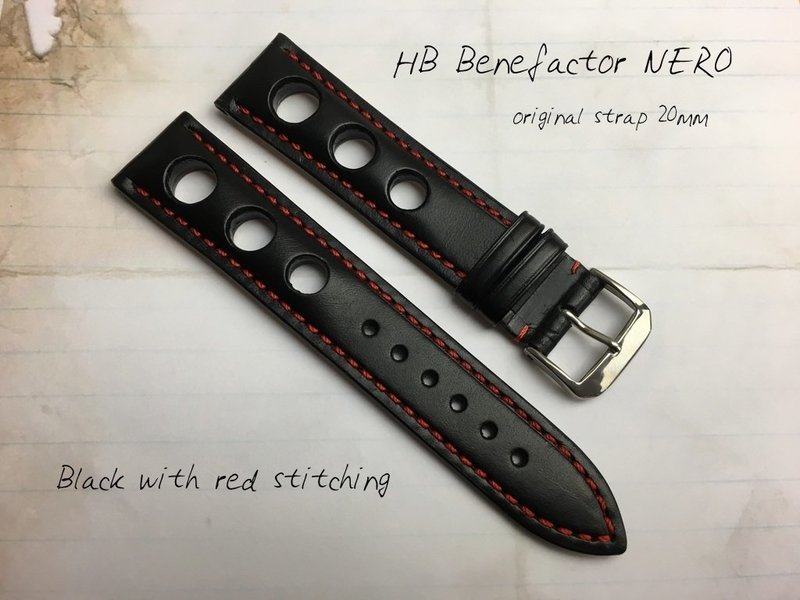 HB NERO Strap Black with Red Stitching 20mm