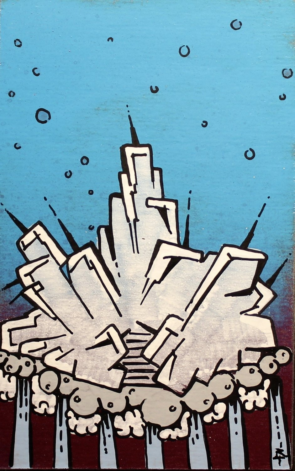 Blast off  8x10 spray paint and marker on paper