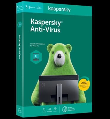 KASPERSKY 2020 ANTI-VIRUS 3+1 PC, 1 YEAR Mic-KL11719XDFS-20ENG