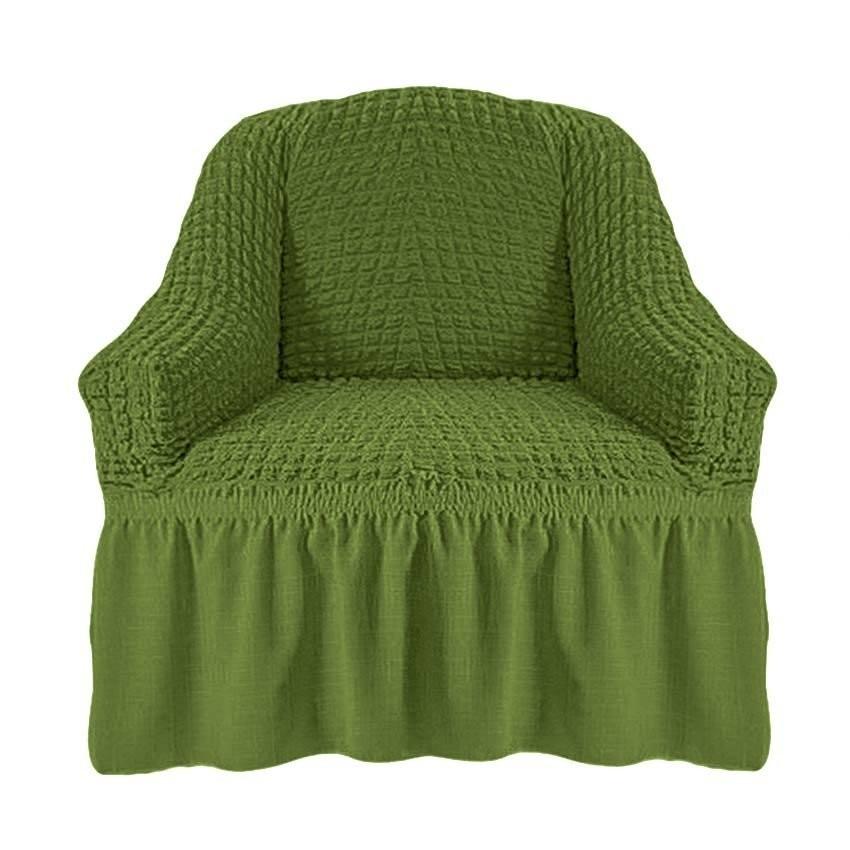 Чехол на кресло с оборкой (зеленый)