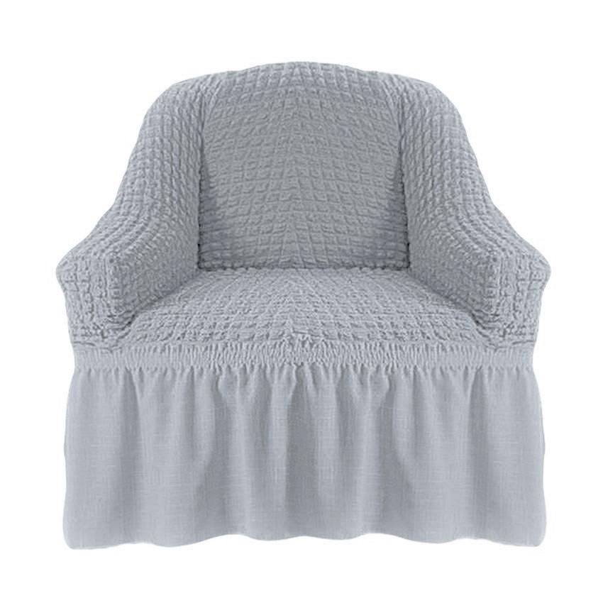 Чехол на кресло с оборкой (серебро)