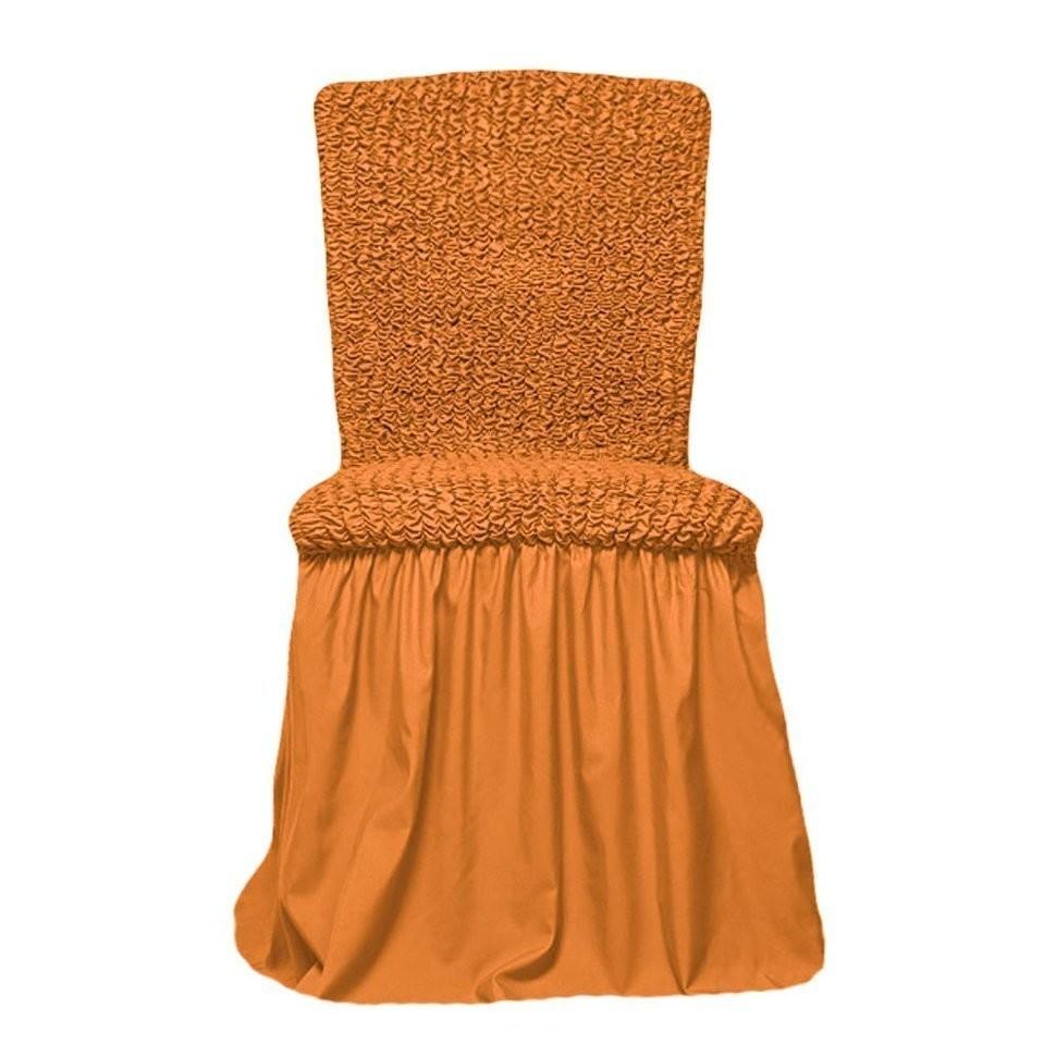 Чехол на стул с оборкой (охра)