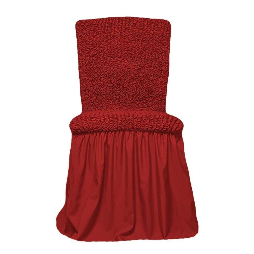 Чехол на стул с оборкой (терракот)