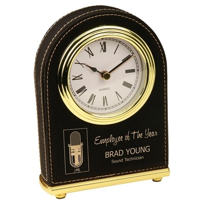 Black Leatherette Desk Clock
