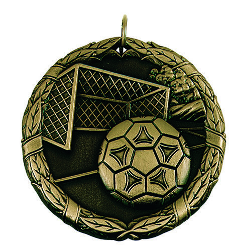SAY Soccer Ball and Goal with Wreath Border Medal
