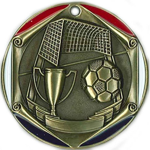 SAY Soccer Ball and Goal Red, White & Blue Themed Medal