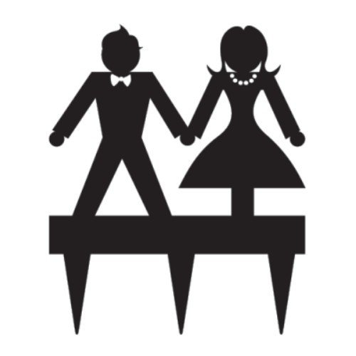 Suit & Dress Silhouette Cake Topper
