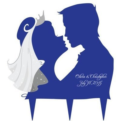 Kissing Couple Silhouette Cake Topper