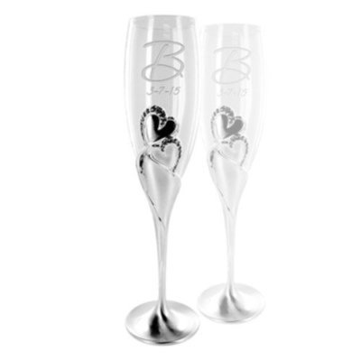 Two Hearts Champagne Flutes Set of 2