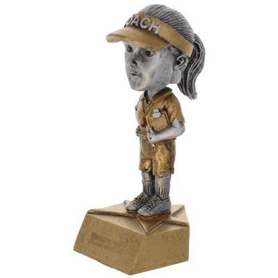 SAY Soccer Female Bobble Head Coach Sculpture