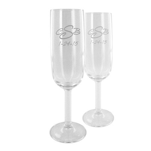 Set of Two Customized Champagne Flutes