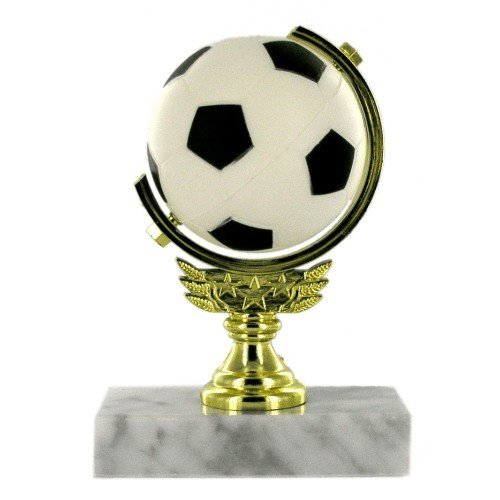 SAY Soccer Trophy with Spinning Soccer Ball Figure