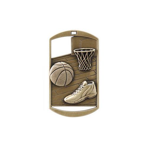 """1""""x 2"""" Basketball Dog Tag Medal"""