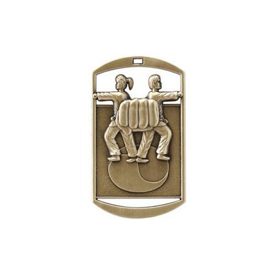 "1""x 2"" Karate Dog Tag Medal"