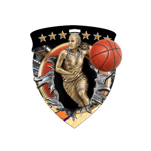 "3"" Basketball Female Shield Medal *Limited Quantities*"