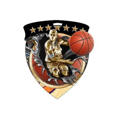 """3"""" Basketball Male Shield Medal *Limited Quantities*"""