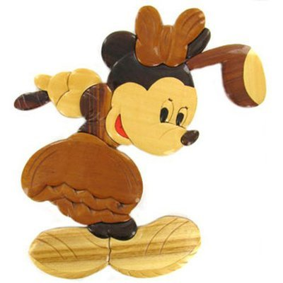 Wooden Golfing Minnie Mouse